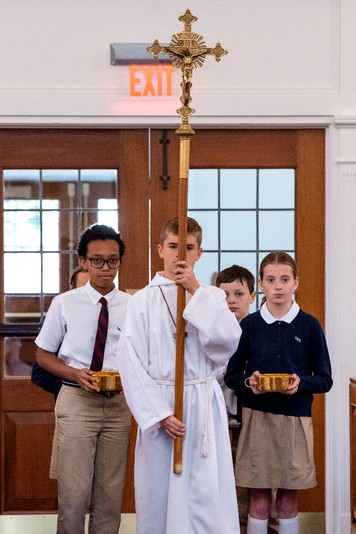 Student Altar Servers Process with Crucifix